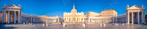 Fotografie, Tablou Panorama view of Saint Peter's Basilica and square on sunrise in Vatican, Italy