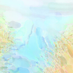 Fototapeta na wymiar Crazy watercolor random pattern. Creative abstraction. Modern art painting. 2d illustration. Digital texture wallpaper. Artistic watercolored backdrop material.