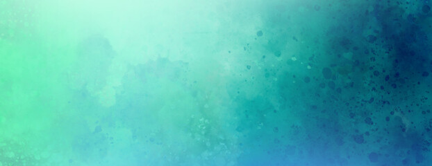 Pastel blue and green background with white paint spray spatter and texture grunge, soft classy spring or Easter colors