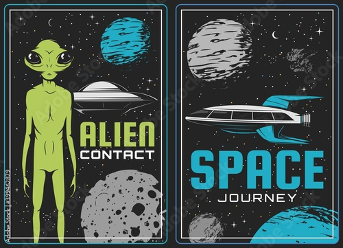 Photo Retro posters with alien and ufo vector cards