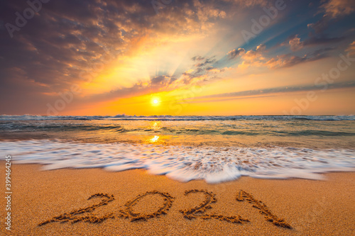 Happy New Year 2021 lettering on the beach Wallpaper Mural