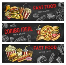 Fast Food Sketch Burgers And Sandwiches, Banners
