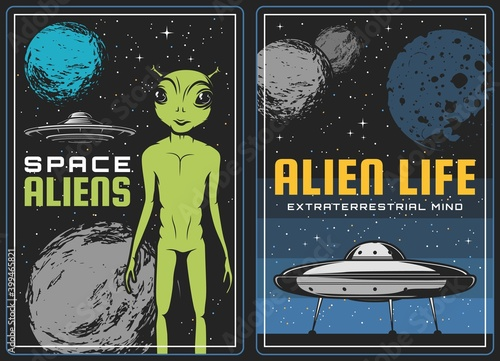Canvas Print Retro poster with alien and ufo spaceship in space