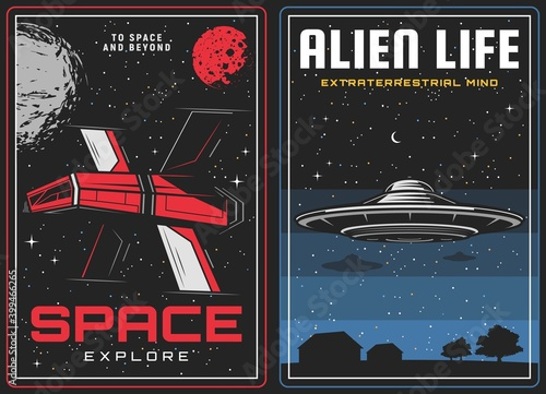 Outer space exploration, alien life contact banner Fotobehang
