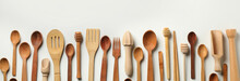 Different Wooden Dishes On White Background, Space For Text