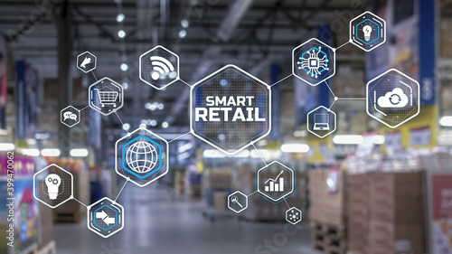 Obraz Smart retail 2021 and omni channel concept. Shopping concept 2021. - fototapety do salonu