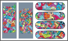 Set Skateboard Designs, Vector Illustration Of Beautiful Ornament, Glowing Intended For Skateboard Images