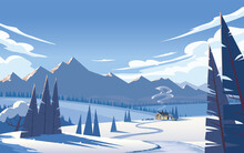 Atmospheric Winter Landscape In Cool Colors. Cozy Country House In A Field, Surrounded By Trees, Against The Background Of Mountains And Sky With Lush Clouds. Vector Illustration.