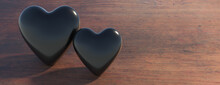 Black Hearts On Wood. Love, Passion, Health Concept. 3d Illustration