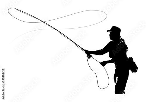 Valokuva Fly fisherman fishing
