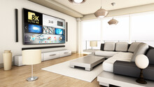 8K Tv Hanging On The Wall Of A Modern Room. 3D Illustration