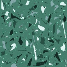 Green Terrazo Seamless Pattern For Tiles And Faience. Italian Mosaic With Rock Fragments And Pieces Repetitive Background.