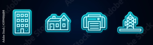 Fotografia Set line House, , Printer and Antenna. Glowing neon icon. Vector.