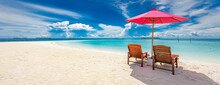 Beautiful Tropical Beach Scenery. Sun Beds, Loungers, Umbrella Under Palm Tree. White Sand, Sea View With Horizon, Colorful Twilight Sky, Calmness And Relaxation. Inspirational Beach Resort Hotel