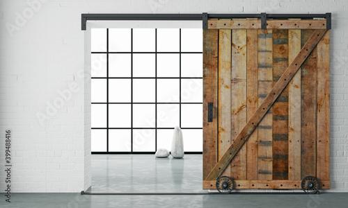 Tableau sur Toile Barn Sliding Wooden Door in Loft Room
