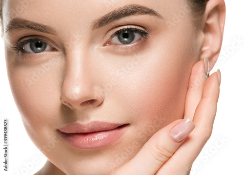 Obraz Beautiful face young woman clean skin beaty make up natural - fototapety do salonu