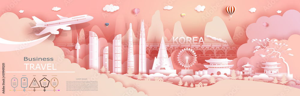 Fototapeta Advertising travel company go to Korea top world famous.