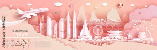 Fototapeta Advertising travel company go to Korea top world famous. obraz