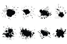Set Of Black Ink Splashes And Drops. Different Hand Drawn Spray Design Elements. Isolated Vector Illustration