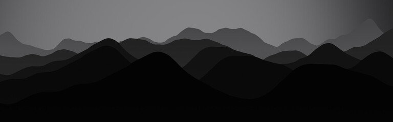 amazing hills peaks at the night time digital graphics background or texture illustration