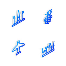 Set Isometric Line Grape Fruit, Place De La Concorde, Plane And French Cafe Icon. Vector.