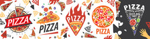 Vector Set Of Logos With The Image Of A Pizza For A Pizzeria
