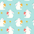 Happy Easter Seamless pattern with rabbit. Vector