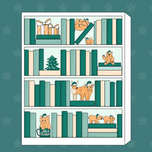 Bookcase With Animals Toys In Santa Claus Hats. A Pair Of Hippos, Hippopotamus On Its Back Holds Paws, Cat In Mug, Deer, Bear And Highland Bull, Christmas Tree