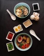 Korean Japanese Ramen Soup Oriental Cuisine Ingredients Composition