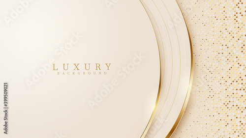 Abstract yellow luxury background with golden line , paper cut style 3d. vector illustration. - fototapety na wymiar