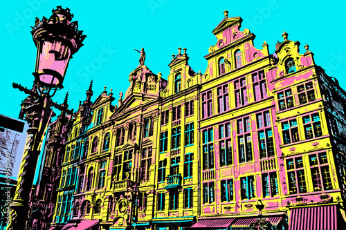 Slika na platnu Elegant decoration on buildings at Grand Place of Brussels