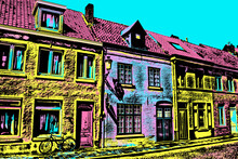 Facade Of Old Houses And Bicycle In An Empty Street Of Bruges. A Cute City Filled Of Canals And Old Buildings In Belgium. Blacklight Poster Filter.