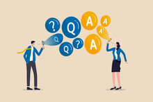 FAQ, Frequently Asked Questions, Discussion Or Questions And Answers To Get Solution On Any Problems Concept, Smart Businessman And Businesswoman Blow Flying Bubbles With Q And A, Question Mark Sign.