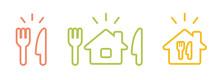 家での食事のアイコン/テイクアウト/お持ち帰り/デリバリー/配達/宅配/ステイホーム/自粛