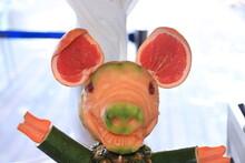 Carved Fruit Pig