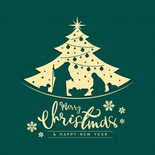 Merry Christmas And Happy New Year Banner Card With Mary And Joseph In A Manger With Baby Jesus In Gold Christmas Tree Sign On Dot Green Texture Background Vector Design