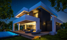 3d Rendering Of Modern Cozy House With Pool And Parking For Sale Or Rent In Luxurious Style And Beautiful Landscaping On Background. Clear Summer Night With Many Stars On The Sky.