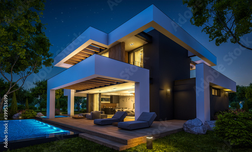 Fototapeta 3d rendering of modern cozy house with pool and parking for sale or rent in luxurious style and beautiful landscaping on background. Clear summer night with many stars on the sky. obraz