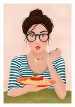 Girl In Glasses Eating Pasta