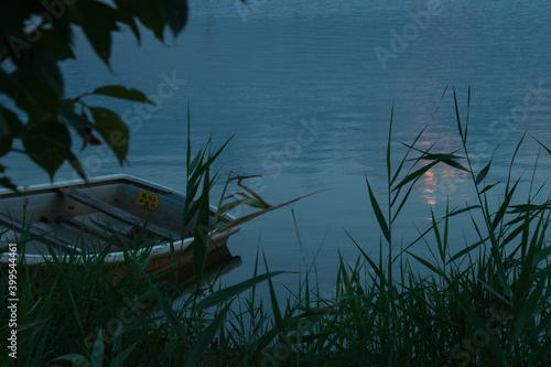 Fotomural 草むらにボートがある夕暮れ風景
