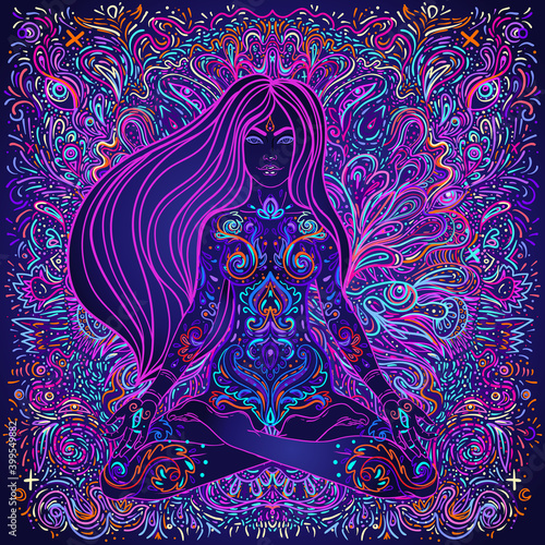 Beautiful Girl sitting in lotus position over ornate colorful neon background Fototapet