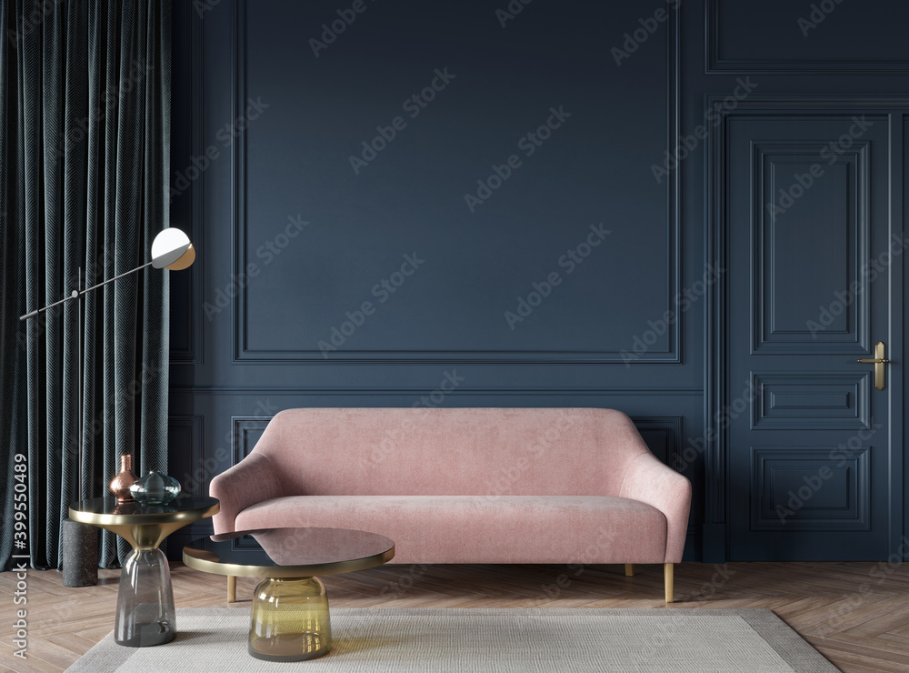 Living room interior in dark blue with a pink sofa, glass tab… - obrazy, fototapety, plakaty