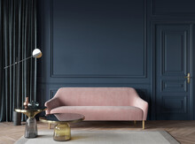 Living Room Interior In Dark Blue With A Pink Sofa, Glass Tab…