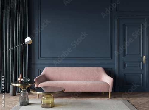 Living room interior in dark blue with a pink sofa, glass tab… - fototapety na wymiar