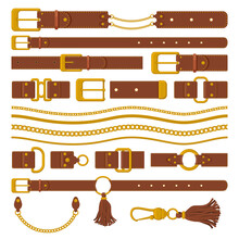 Belts And Chains Elements. Leather Brown Belts, Gold Ring Straps, Chains And Metal Buckles. Haberdashery Leather Accessories Vector Illustration. Leather Belt Straight, Clasp And Strap Part