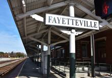 Train Station Sign, Fayetteville, North Carolina, USA