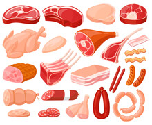 Meat Products. Cartoon Butchery Shop Food, Chicken, Beef Steak, Pork, Prime Rib, Bacon Slice And Sausages. Fresh Meat Food Vector Illustrations. Cooking Farm Ingredient, Pig Grill, Butchery Meal