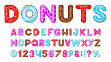 Donut Alphabet. Sweet Bakery Donut Font, Pink, Blue And Red Glazed Chocolate Donut Letters And Numbers. Donut Tasty Abc Vector Illustration Set. Alphabet Bakery Donut, Abc Letter Isolated