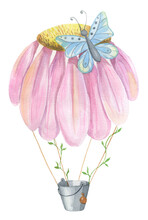 Colorful Fantasy Fairytale Air Hot Balloon Of Pink Flower Painted By Watercolor Isolated On White Background