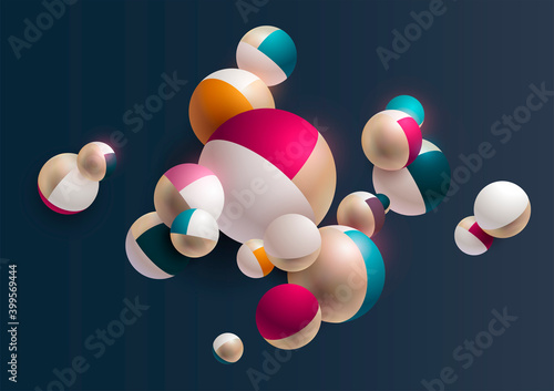 Colored striped 3D balls. Realistic vector illustration